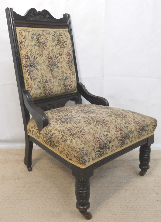 - Victorian Ebonized Frame Upholstered Nursing Chair